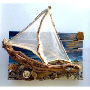 """Διαδραστικός ξύλινος πίνακας """"Αιγαίο"""" 40x60 ακρυλικά, θαλασσόξυλα"""
