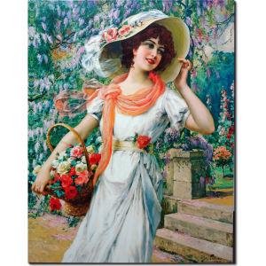 Ζωγραφική σε καμβά αντίγραφο Πίνακες ζωγραφικής Elegant Lady by Emile Vernon 65 Χ 80 εκ.