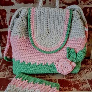 Χειροποίητη πλεκτη τσάντα Backpack