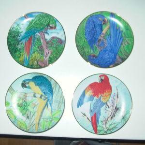 """7 συλλεκτικά πορσελάνινα πιάτα """"Τροπικά πουλιά"""""""