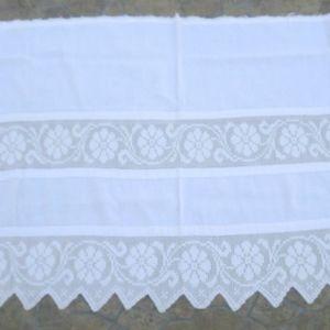 Κουρτινάκι, λευκό, χειροποίητη δαντέλα, λινό, με πλεκτή στο χέρι δαντέλα και καλό λινό, εκατό ετών,