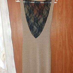 Φορεμα χρυσαφι με μαυρη δαντελα
