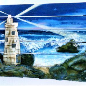 Ξύλινος πίνακας 3d 40x60 'Φάρος', πηλός και ακριλικά