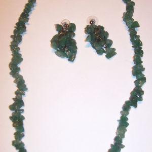 Κολιέ και σκουλαρίκια σέτ Ζαντ (Νεφρίτης) πράσινο
