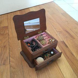 Vintage Ξύλινα Κουτάκια Κοσμημάτων με Καθρεπτάκι