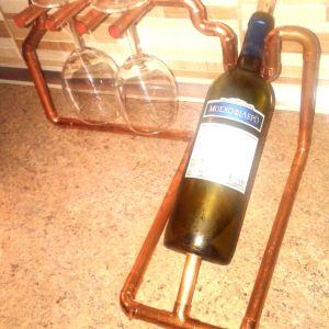 Βάση για κρασί με δύο θέσεις για ποτήρια από χαλκό