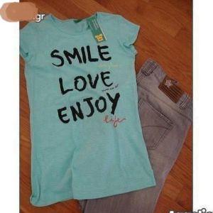 Παντελόνι τζην & μπλούζα benneton για 10-12 ετών