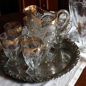 Κρυστάλλινο σερβίτσιο κρασιού / νερού αποτελούμενο από καράφα και 6 ποτήρια