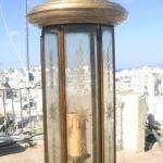 Σετ τρία φανάρια, μπρούτζινια, 100 ετών, από την Κωνσταντινούπολη, με κρύσταλλο, ύψος 50, 45, 40 cm αντίστοιχα.