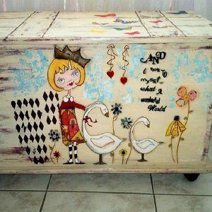 Μεγάλο ξύλινο παιδικό μπαούλο ζωγραφική με ακρυλικά 70x40x40