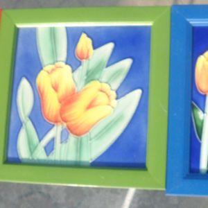 σετ τρία πινακάκια  με ζωγραφισμένο γυαλί