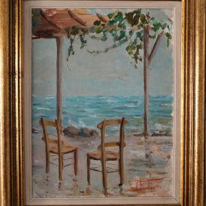"""Ελαιογραφία """"Καφενείο"""" 1982"""
