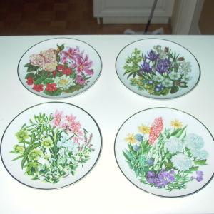 """12 Συλλεκτικά πορσελάνινα πιάτα """"Οι μήνες&τα άνθη τους""""."""
